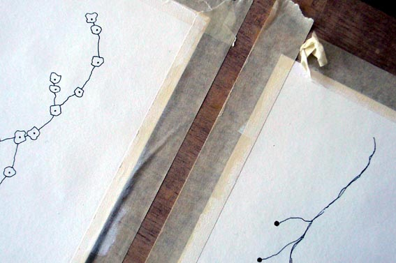 Kirsty Hall - photograph of drawings in progress