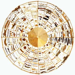 Chris Drury, medicine wheel, circular sculpture of natural objects collected over a year